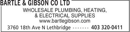 Bartle & Gibson (403-320-0411) - Display Ad - WHOLESALE PLUMBING, HEATING, & ELECTRICAL SUPPLIES www.bartlegibson.com