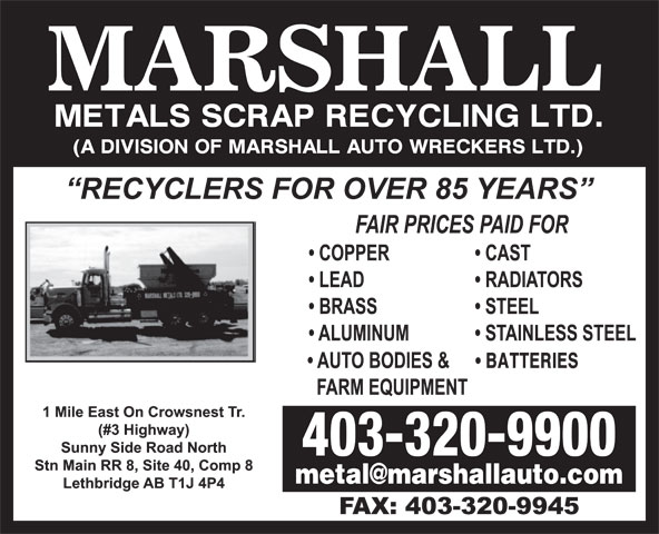 Marshall Metals Scrap Recycling Ltd (403-320-9900) - Annonce illustrée======= - BATTERIES