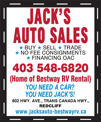 Jack's Auto Sales (403-548-6820) - Display Ad -