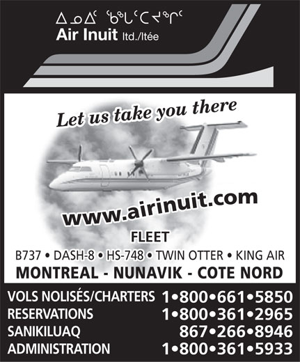Air Inuit Ltd (867-266-8946) - Annonce illustrée======= -