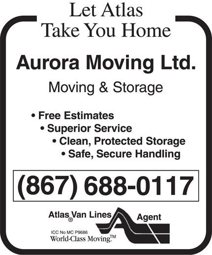Aurora Moving Ltd (867-669-7188) - Display Ad - 688-0117