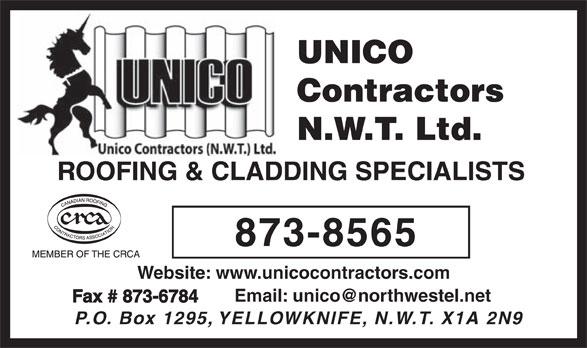Unico Roofing Contractors NWT Ltd (867-873-8565) - Annonce illustrée======= -