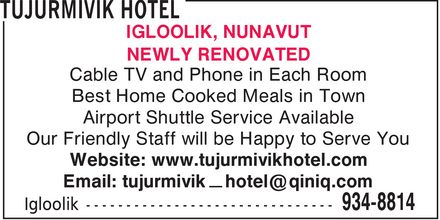 Tujurmivik Hotel (867-934-8814) - Display Ad -