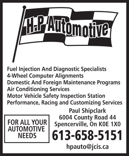 Hp Automotive 6004 County Road 44 Spencerville On