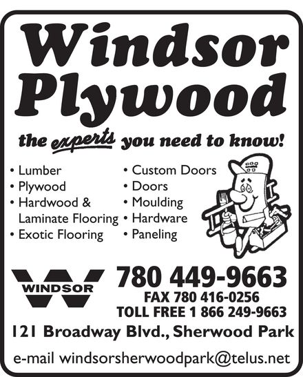 Windsor Plywood (780-449-9663) - Annonce illustrée======= -