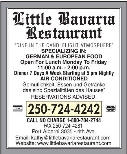 Little Bavaria Restaurant (250-724-4242) - Display Ad -