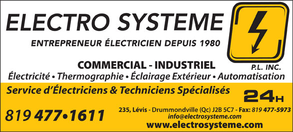 Electro-Système P L Inc (819-477-1611) - Display Ad - Service d Électriciens & Techniciens Spécialisés Drummondville