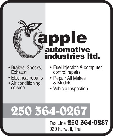 Apple Automotive Industries Ltd (250-364-0267) - Display Ad -