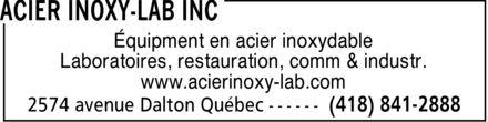 Acier Inoxy-Lab Inc (418-841-2888) - Annonce illustrée======= - Équipment en acier inoxydable Laboratoires, restauration, comm & industr. www.acierinoxy-lab.com