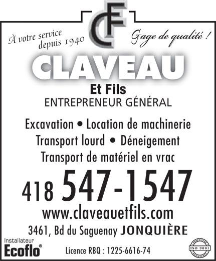 Claveau Et Fils (418-547-1547) - Annonce illustrée======= -