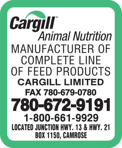 Cargill Limited (780-672-9191) - Annonce illustrée======= - FAX 780-679-0780 780-672-9191