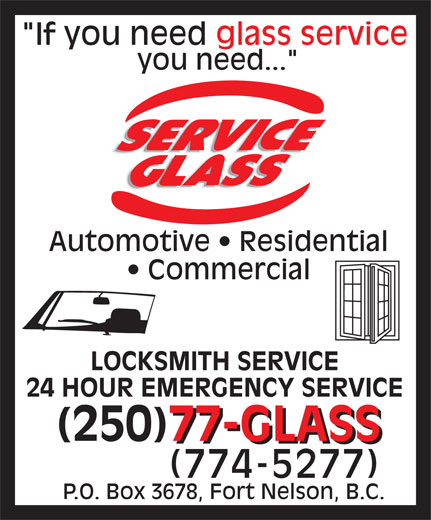 Service Glass Ltd (250-774-5277) - Display Ad -