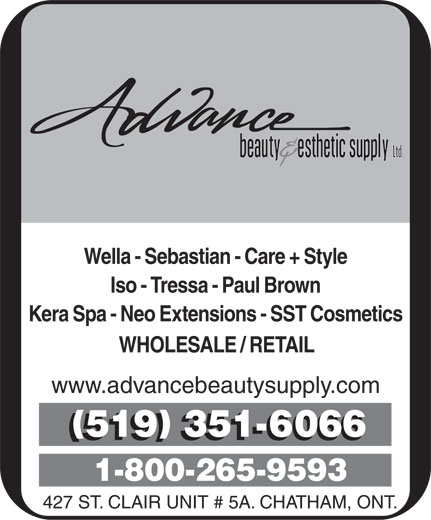 Advance Beauty & Esthetic Supply Ltd (519-351-6066) - Annonce illustrée======= -