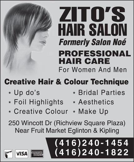 Zito's Hair Salon (416-240-1454) - Annonce illustrée======= - () 416240-1454 () 416240-1822 () 416240-1454 () 416240-1822