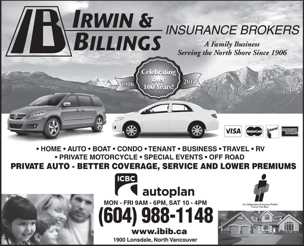 Irwin & Billings Insurance (604-988-1148) - Annonce illustrée======= -