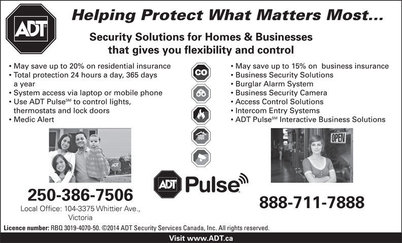 ADT Security Services Canada Inc (250-386-7506) - Annonce illustrée======= -