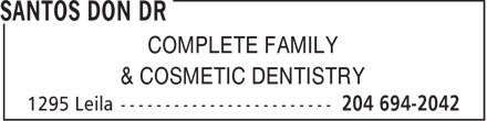 Toy Brant Dr (204-694-2042) - Annonce illustrée======= - COMPLETE FAMILY & COSMETIC DENTISTRY