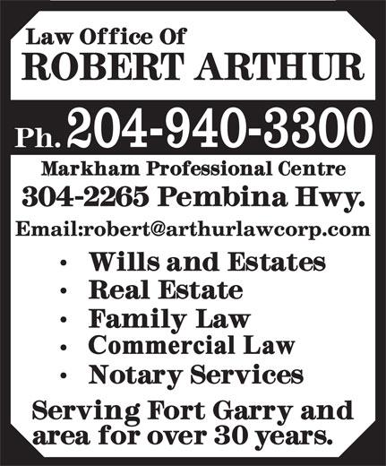 Arthur Robert Law Office (204-940-3300) - Display Ad - 204-940-3300 204-940-3300