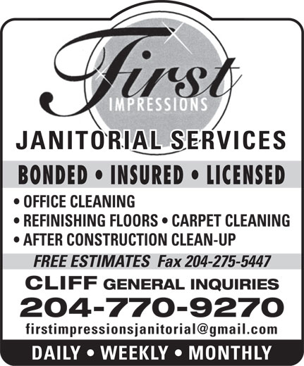 First Impressions Janitorial Service (204-770-9270) - Annonce illustrée======= -