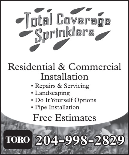 Total Coverage Sprinklers (204-998-2829) - Annonce illustrée======= -