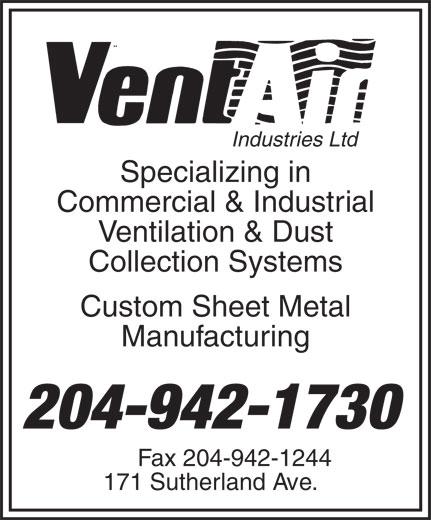 Vent-Air Industries Ltd (204-942-1730) - Annonce illustrée======= -