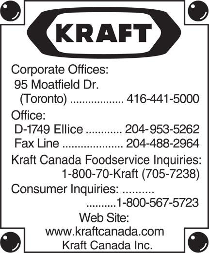 Kraft Canada Inc (204-953-5262) - Annonce illustrée======= -