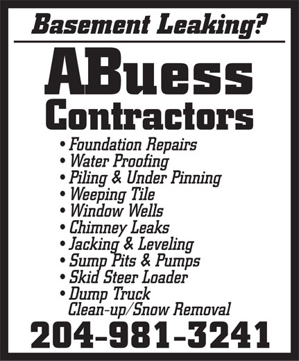 ABuess Contractors (204-981-3241) - Display Ad -