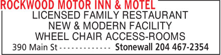 Rockwood Motor Inn & Motel (204-467-2354) - Annonce illustrée======= - LICENSED FAMILY RESTAURANT NEW & MODERN FACILITY WHEEL CHAIR ACCESS-ROOMS LICENSED FAMILY RESTAURANT NEW & MODERN FACILITY WHEEL CHAIR ACCESS-ROOMS