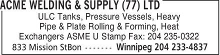 Acme Welding & Supply (77) Ltd (204-233-4837) - Display Ad -