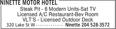 Ninette Motor Hotel (204-528-3572) - Annonce illustrée======= - Steak Pit - 6 Modern Units-Sat TV Licensed A/C Restaurant-Bev Room VLT'S - Licensed Outdoor Deck
