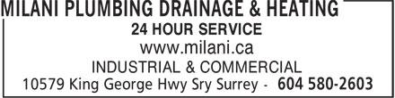 Milani Plumbing, Drainage & Heating (604-580-2603) - Annonce illustrée======= -
