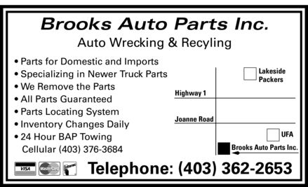 Brooks Auto Parts Inc (403-362-2653) - Annonce illustrée======= - Brooks Auto Parts Inc. Auto Wrecking & Recyling Parts for Domestic and Imports Specializing in Newer Truck Parts We Remove the Parts All Parts Guaranteed Parts Locating System Inventory Changes Daily 24 Hour BAP Towing Cellular 403 376-3684 Telephone: 403 362-2653 Visa MasterCard Interac