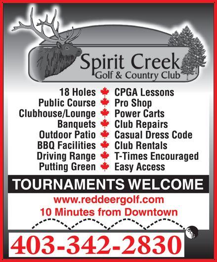 Spirit Creek Golf & Country Club (403-342-2830) - Display Ad - 403-342-2830