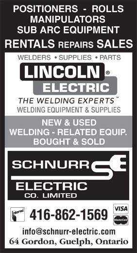 Schnurr Electric Co Ltd (416-862-1569) - Annonce illustrée======= -