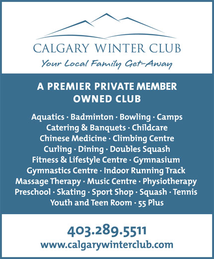 Calgary Winter Club (403-289-5511) - Annonce illustrée======= - Check CF for supplied art body font is TheMix