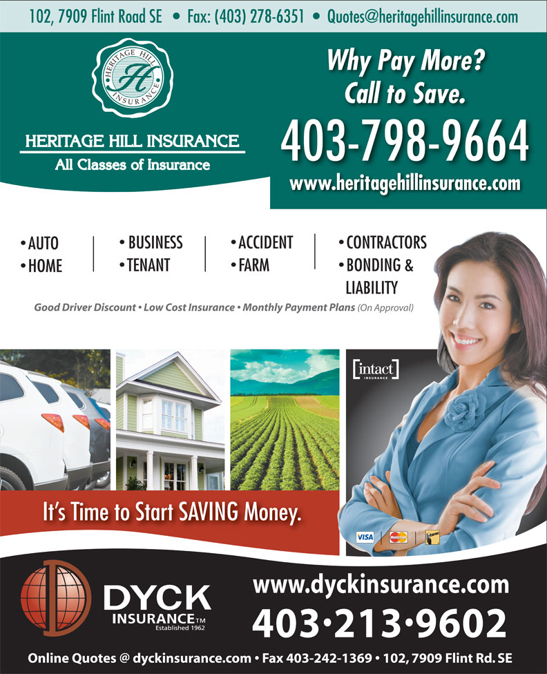 Anthony Clark Insurance Ltd (403-278-8811) - Annonce illustrée======= - Why Pay More? Call to Save. 403-798-9664 www.heritagehillinsurance.com ACCIDENT  BUSINESS CONTRACTORS AUTO FARMTENANT BONDING & HOME LIABILITY Good Driver Discount   Low Cost Insurance   Monthly Payment Plans (On Approval) It s Time to Start SAVING Money. www.dyckinsurance.com 4032139602