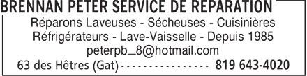 Peter Brennan Service De Réparation Enr (819-643-4020) - Annonce illustrée======= - Réparons Laveuses - Sécheuses - Cuisinières Réfrigérateurs - Lave-Vaisselle - Depuis 1985