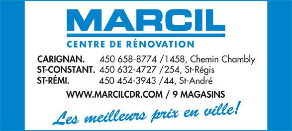 Marcil Centre de Rénovation (450-632-4727) - Annonce illustrée======= -