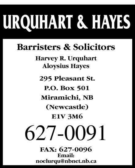 Harvey R Urquhart (506-627-0091) - Annonce illustrée======= -