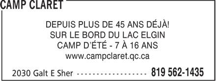 Le Camp Claret Du Lac Elgin (819-562-1435) - Annonce illustrée======= - DEPUIS PLUS DE 45 ANS DÉJÀ! CAMP D'ÉTÉ - 7 À 16 ANS www.campclaret.qc.ca SUR LE BORD DU LAC ELGIN