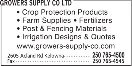 Growers Supply Co Ltd (250-765-4500) - Annonce illustrée======= - Crop Protection Products Farm Supplies   Fertilizers Post & Fencing Materials Irrigation Designs & Quotes www.growers-supply-co.com