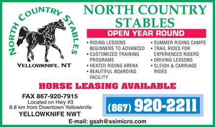 North Country Stables (867-920-2211) - Display Ad -