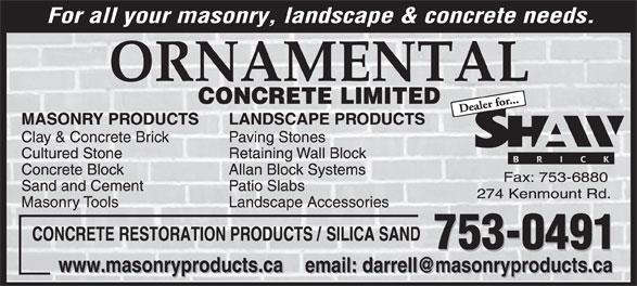 Ornamental Concrete Limited (709-753-0491) - Display Ad -