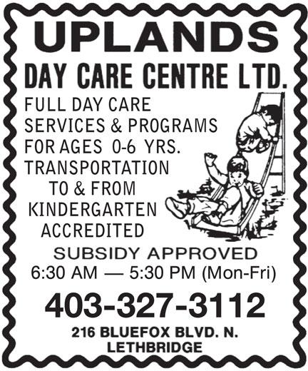 Uplands Day Care Centre Ltd (403-327-3112) - Annonce illustrée======= -