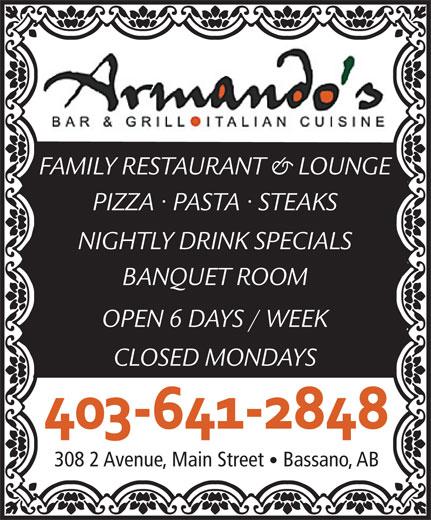 Armando's Bar & Grill (403-641-2848) - Annonce illustrée======= -
