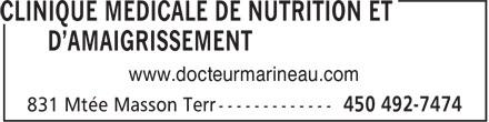 Clinique Médicale de Nutrition et D'Amaigrissement (450-492-7474) - Display Ad - www.docteurmarineau.com