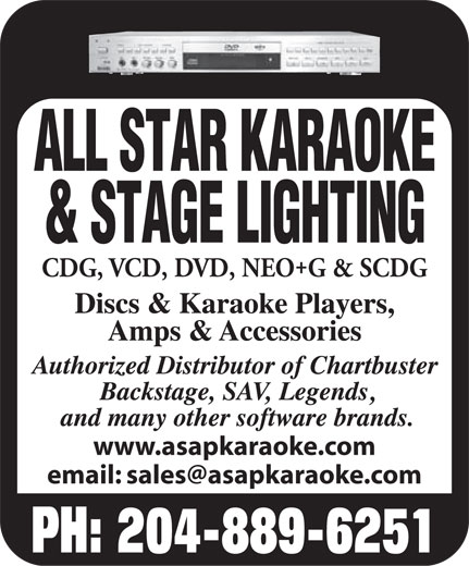 All Star Karaoke (204-889-6251) - Display Ad -