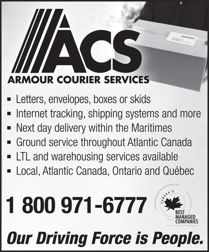 Armour Courier Services (1-800-971-6777) - Annonce illustrée======= -