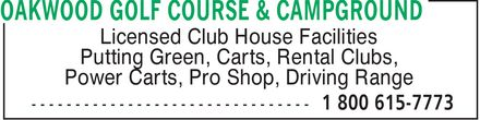 Oakwood Golf Course & Campground (204-422-8045) - Display Ad -