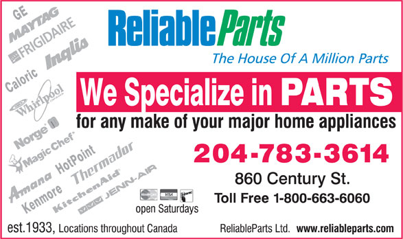 Reliable Parts (204-783-3614) - Display Ad -